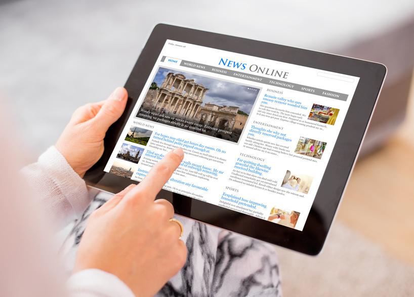 digital news on a tab